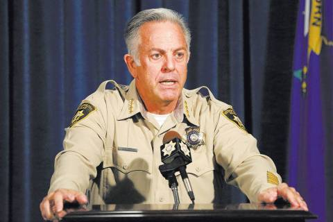 Sheriff Joe Lombardo answers questions during a press conference to announce the release of the ...