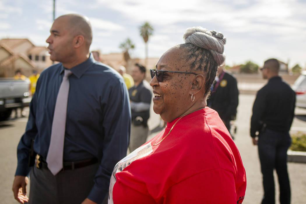 Las Vegas police homicide Lt. Ray Spencer, left, and Sheilah Johnson, grandmother of homicide v ...