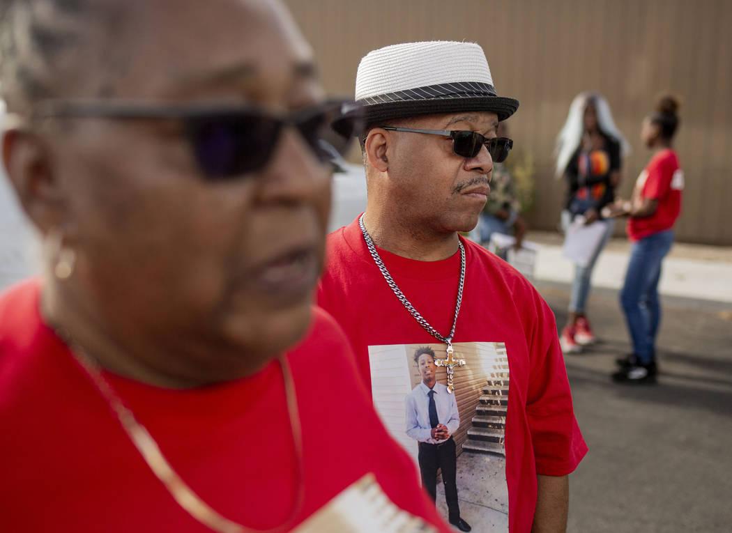 Sheilah Johnson, left, and Julius McCoy, grandparents of homicide victim Jaejuan Williams, give ...