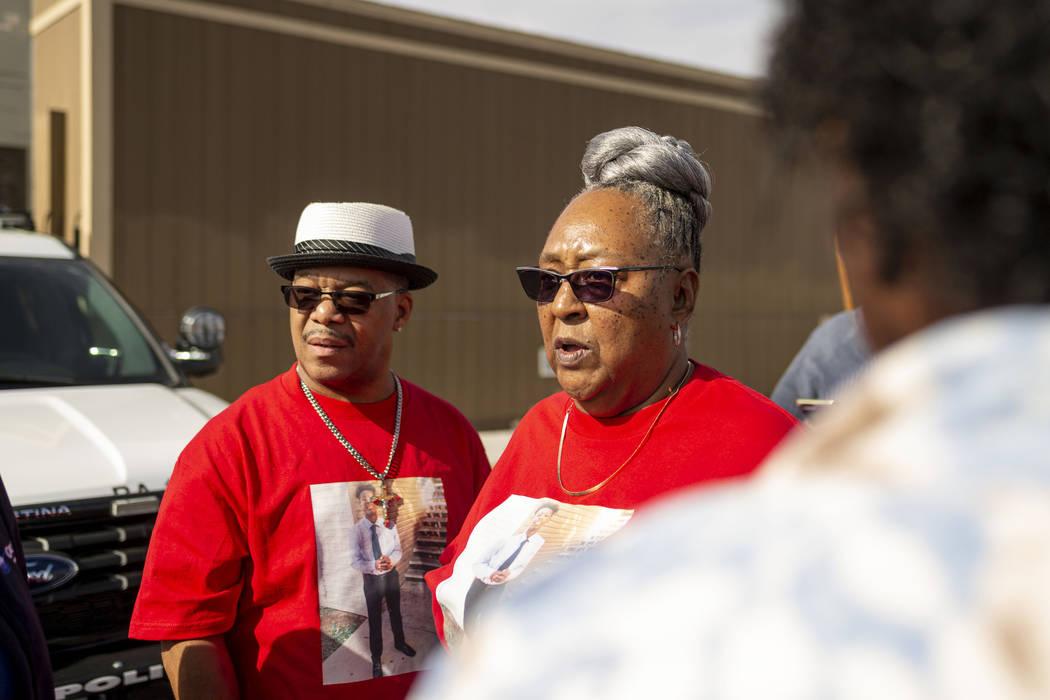 Julius McCoy, left, and Sheilah Johnson, grandparents of homicide victim Jaejuan Williams, give ...
