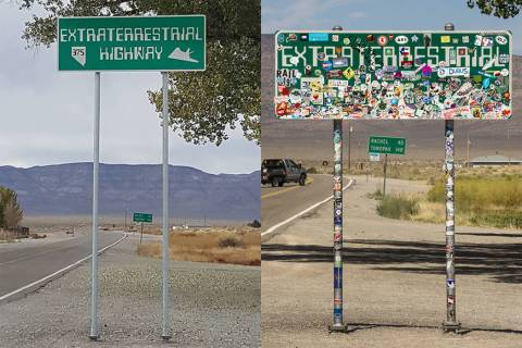 "A new version of the ""Extraterrestrial Highway"" sign, left, at the junction of state Routes 318 ..."