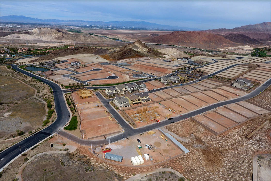 Aerial view of housing construction sites at The Peaks, a development at Lake Las Vegas, (Micha ...