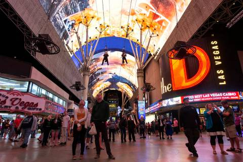 The Fremont Street Experience on Monday, Nov. 11, 2019, in downtown Las Vegas. (Ellen Schmidt/L ...
