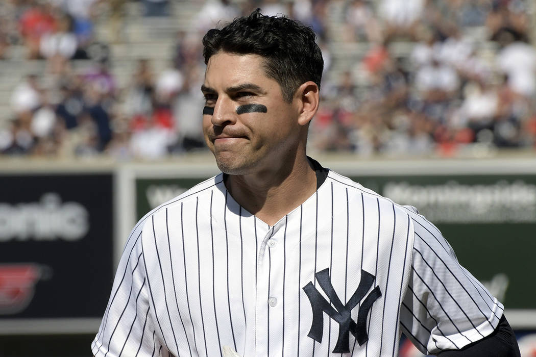 In this Aug. 30, 2017, file photo, New York Yankees' Jacoby Ellsbury reacts after grounding out ...