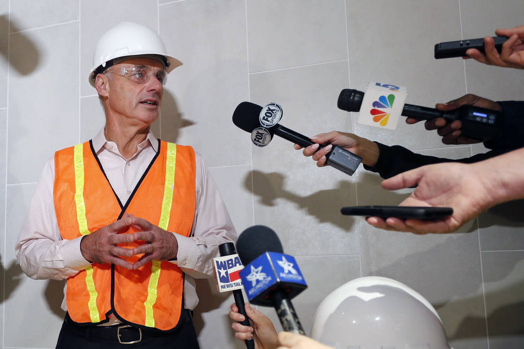 Baseball Commissioner Rob Manfred speaks to the media during a tour of the under construction n ...
