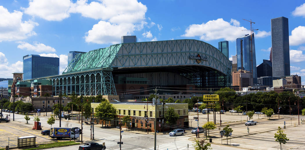FILE - This Sept. 11, 2016 file photo shows a wide angle view of Minute Maid Park in downtown H ...