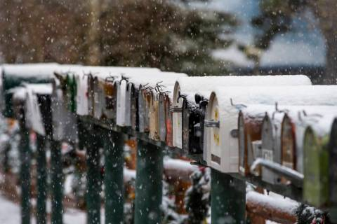 Snow covers mailboxes in Old Town at Mount Charleston on Wednesday, Nov. 20, 2019. Lee Canyon r ...