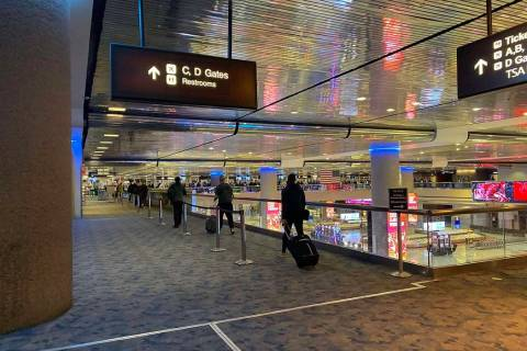 The baggage claim area at McCarran International Airport. A police officer shot a person at the ...