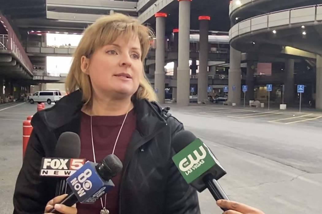 Capt. Nichole Splinter of the Las Vegas Metropolitan Police Department updates the media about ...