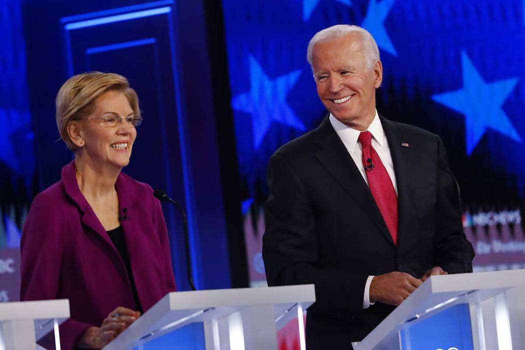 Democratic presidential candidate former Vice President Joe Biden speaks as Democratic presiden ...
