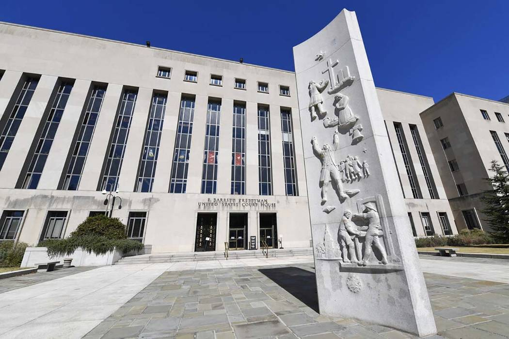 In a Oct. 11, 2019, file photo, a view of the E. Barrett Prettyman United States Courthouse in ...