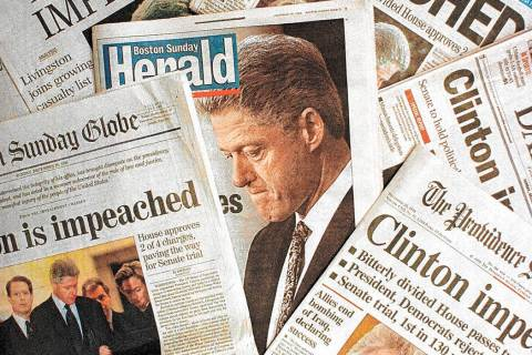 This is a photo montage showing the Sunday, Dec. 20, 1998 editions of newspapers from Massachus ...