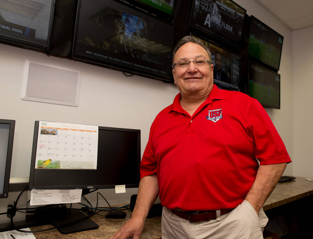 """Vic Salerno, president of USFantasy Sports, stands for a photo on March 16, 2017 inside the """"wa ..."""