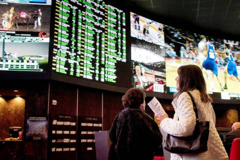 Gamblers at the Palms sportsbook on Thursday, Nov. 21, 2019, in Las Vegas. (Ellen Schmidt/Las V ...