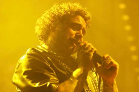 Post Malone performs during his Runaway tour at the Forum on Wednesday, Nov. 20, 2019 in Inglew ...