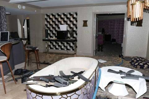 Guns are shown in the Mandalay Bay suite of Stephen Paddock after the Oct. 1, 2017, mass shooti ...