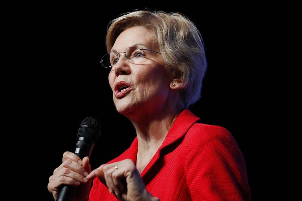 In this Nov. 17, 2019, photo, Democratic presidential candidate Sen. Elizabeth Warren, D-Mass., ...