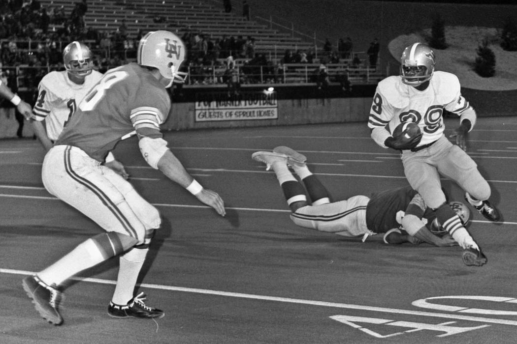 Historical images from the Las Vegas Review-Journal archive document the first UNLV football ga ...