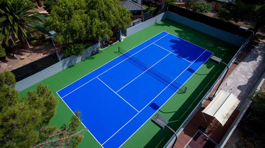 The tennis court is a major feature. (Simply Vegas)