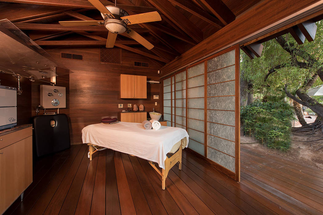 An Asian-inspired spa house is built out of teak wood. (Simply Vegas)