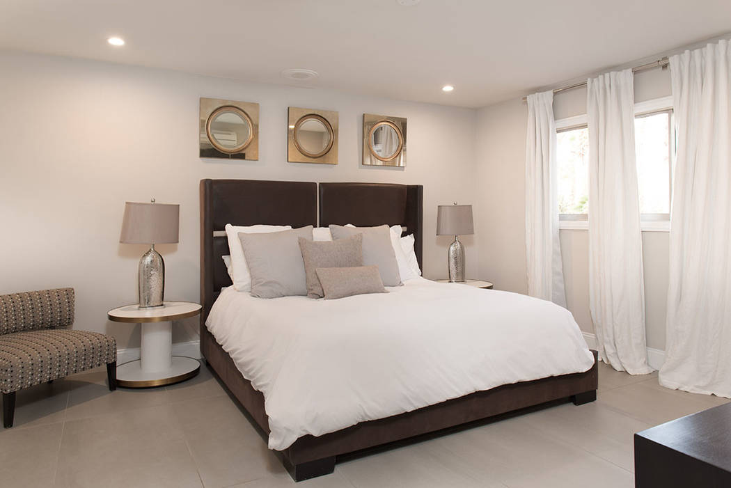 One of five bedrooms in the guesthouse. (Simply Vegas)