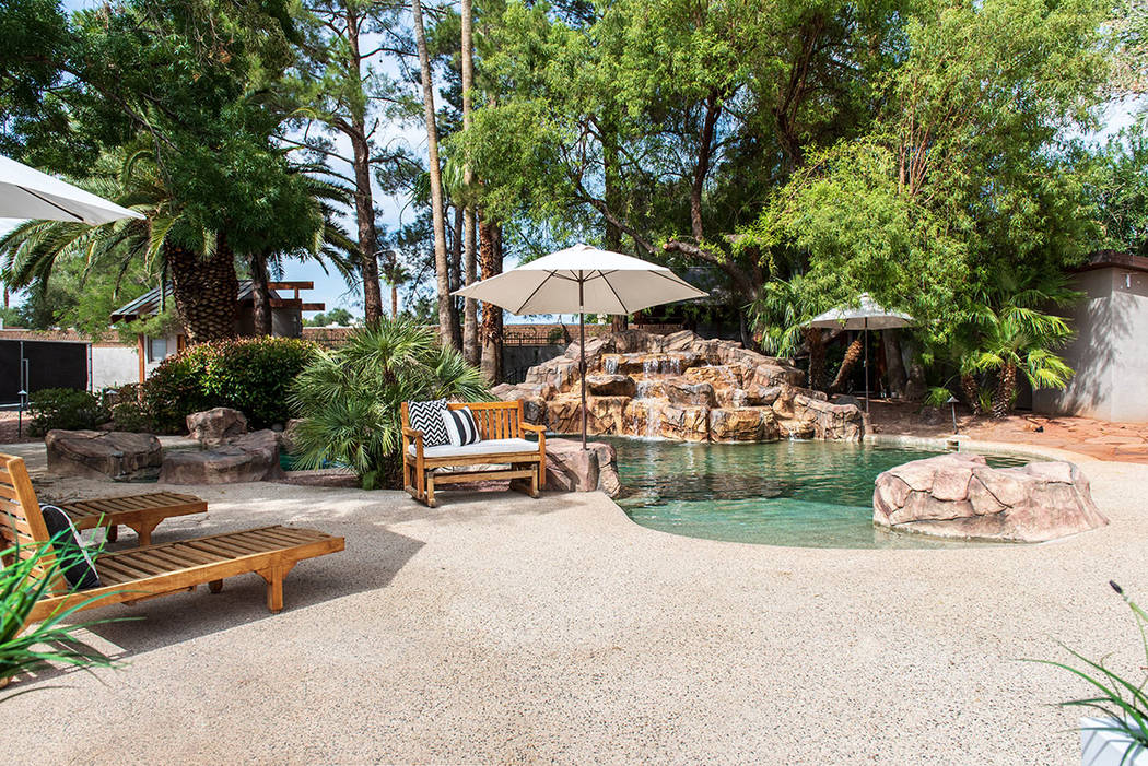 The backyard of the main house is designed like a resort. (Simply Vegas)