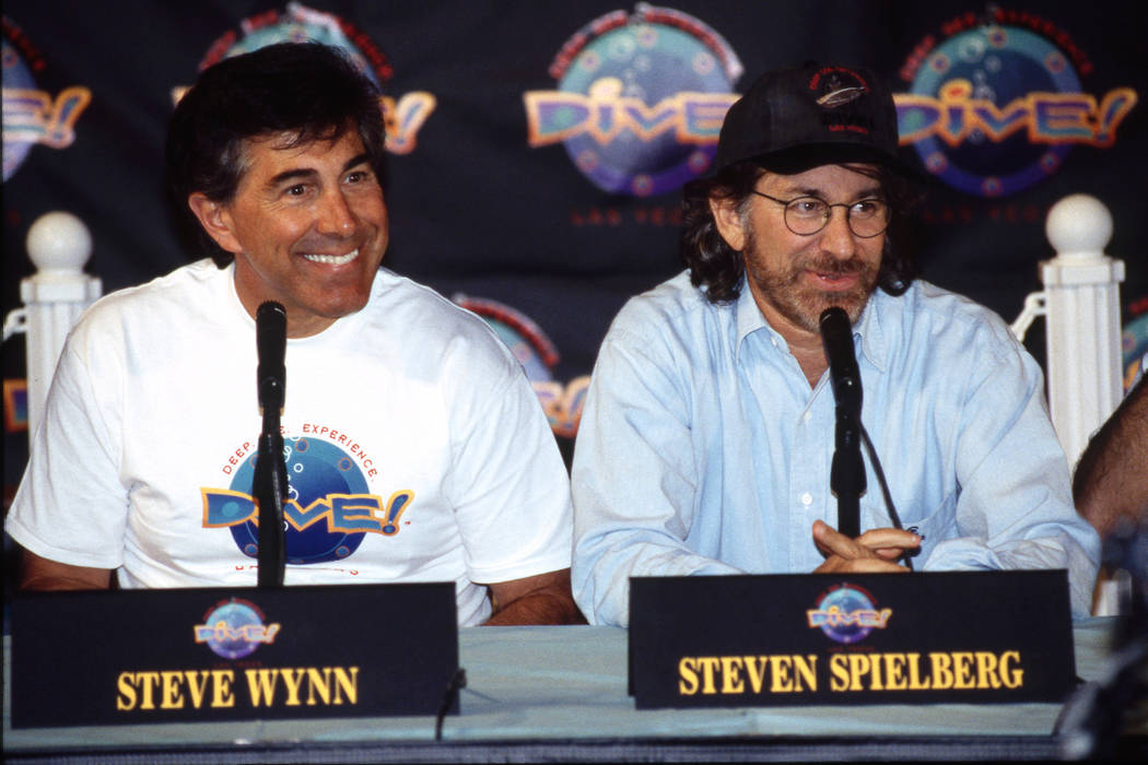 Steve Wynn and Steven Spielberg answer questions during a media preview of the restaurant Dive! ...