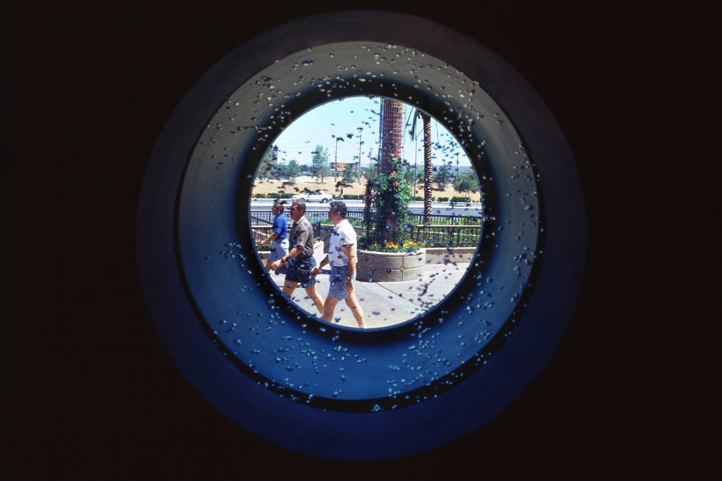 This a view looking out of one of the porthole windows during a media preview of the restaurant ...