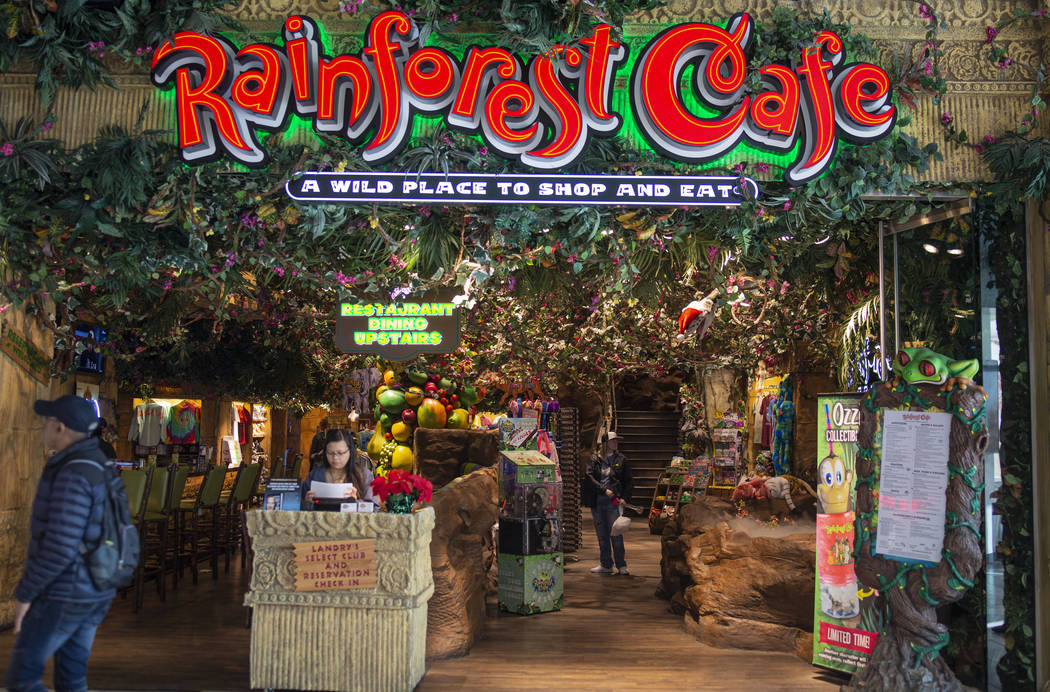 The entrance of the Rainforest Cafe in the Miracle Mile Shops on the Las Vegas Strip, Friday No ...