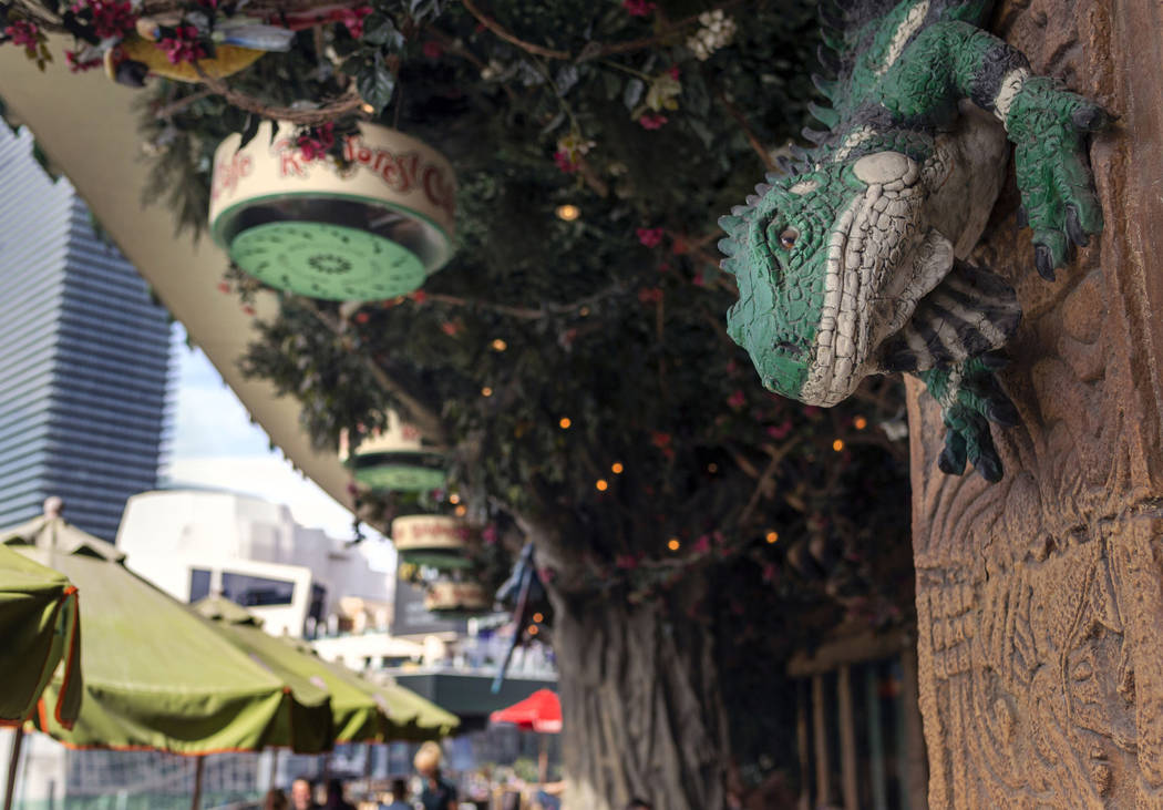 The patio of the Rainforest Cafe in the Miracle Mile Shops views the Las Vegas Strip on Friday ...