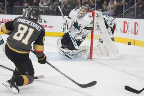 Vegas Golden Knights center Jonathan Marchessault (81) shoots on San Jose Sharks goaltender Aar ...