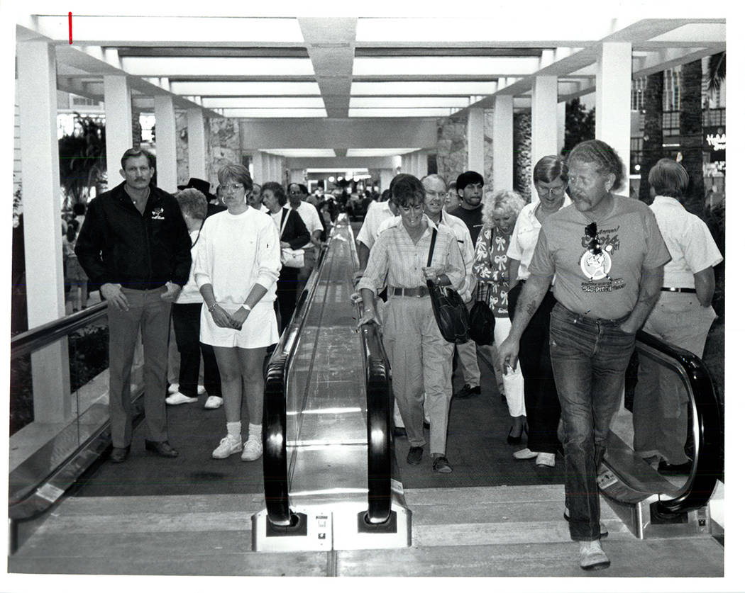 Dual people mover tracks bring visitors into the Mirage on November 22, 1989. (Wayne Kodey / La ...