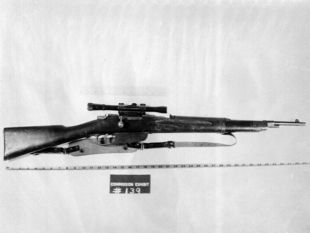 This Mannlicher-Carcano bolt-action, clip-fed rifle, found in the Texas School Book Depository ...