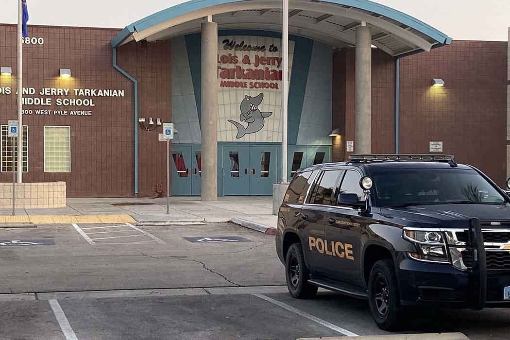 Clark County School District police were seen at Tarkanian Middle School in southwest Las Vegas ...