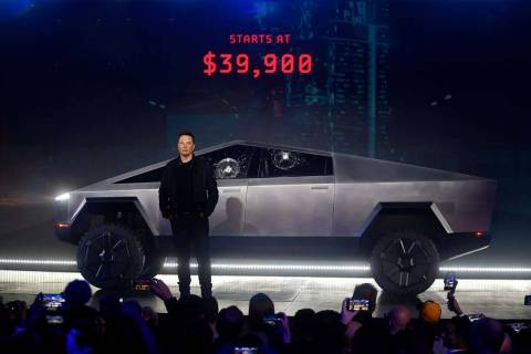 Tesla CEO Elon Musk introduces the Cybertruck at Tesla's design studio Thursday, Nov. 21, 2019, ...
