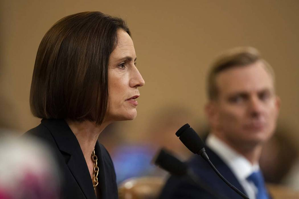 Former White House national security aide Fiona Hill, and David Holmes, a U.S. diplomat in Ukra ...