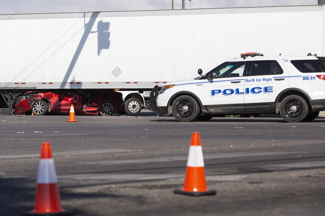 A fatal crash at East Cheyenne Avenue and Losee Road on Friday, Nov. 22, 2019, in North Las Veg ...