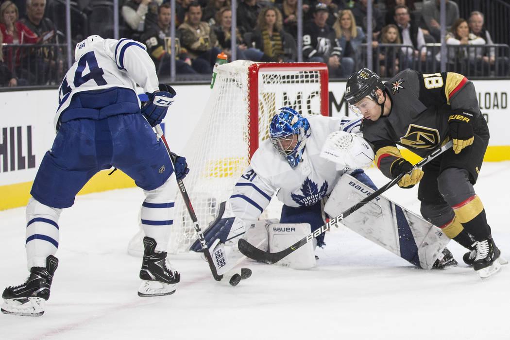 Vegas Golden Knights center Jonathan Marchessault (81) shoots on Toronto Maple Leafs goaltender ...