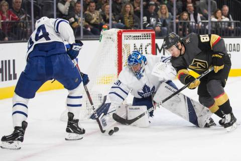 Vegas Golden Knights center Jonathan Marchessault (81) shoots on Toronto Maple Leafs goaltender ...