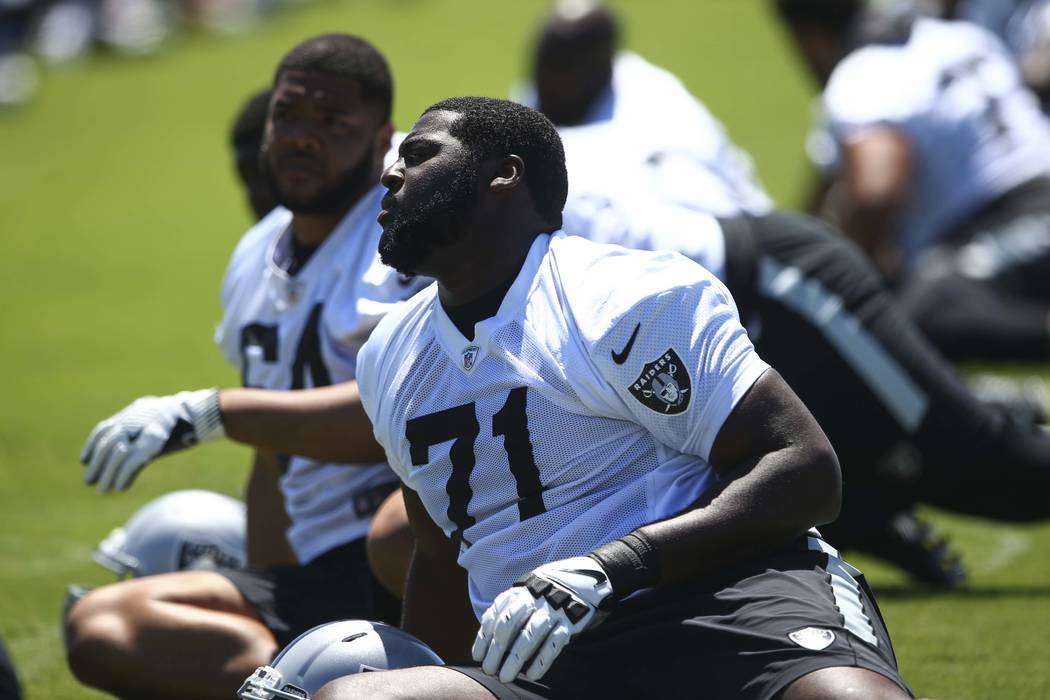 Oakland Raiders' David Sharpe (71) warms up during day two of a mini-camp at the Raiders headqu ...