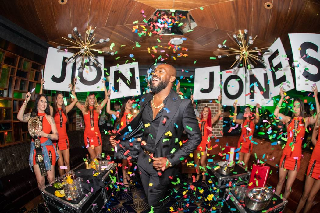 UFC champ Jon Jones (middle) is feted at On The Record at Park MGM on Saturday, July 7, 2019. ( ...