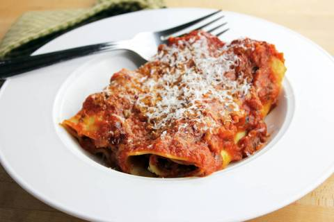 Homemade baked manicotti. (Getty Images)