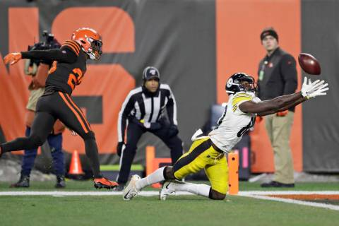 Pittsburgh Steelers wide receiver Johnny Holton (80) makes a diving attempt at the goal line bu ...