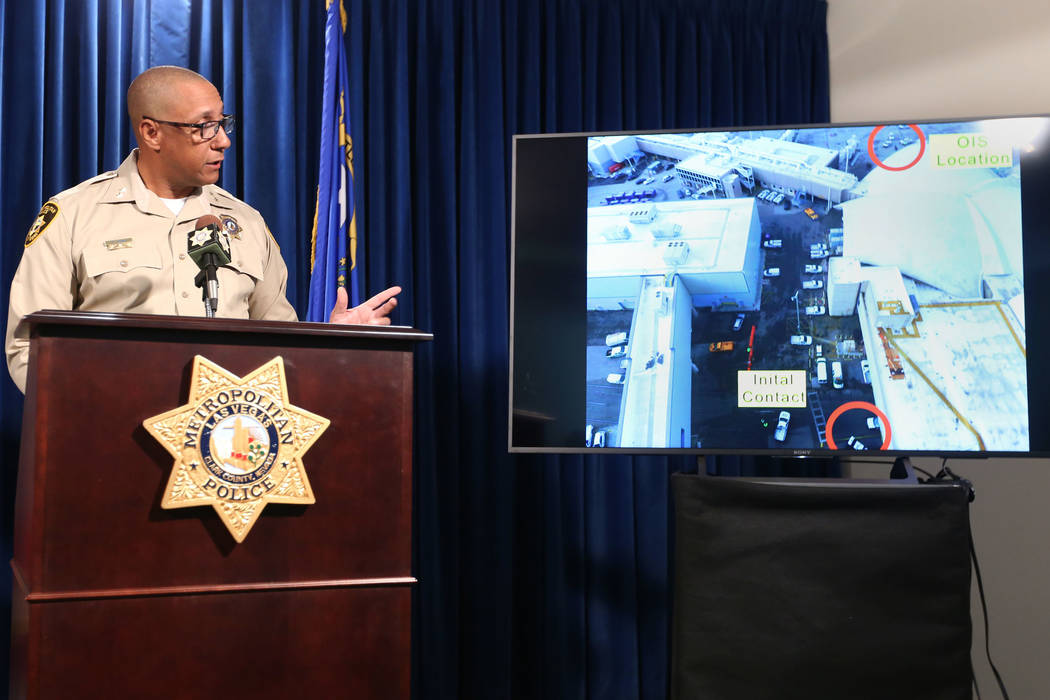 Clark County Assistant Sheriff Charles Hank speaks during a news conference, Saturday, Nov. 23, ...