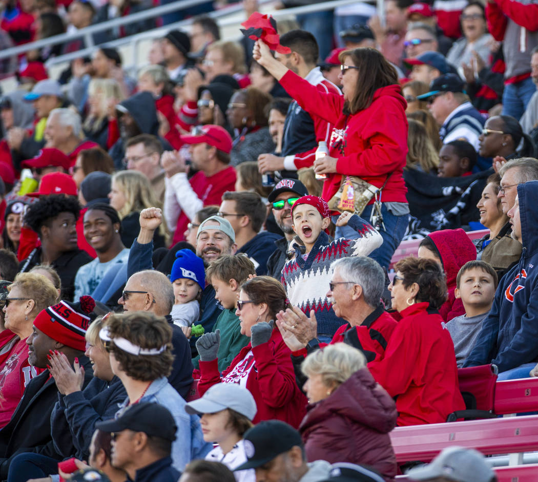 UNLV Rebels fans cheer another turnover versus the San Jose State Spartans during the second qu ...