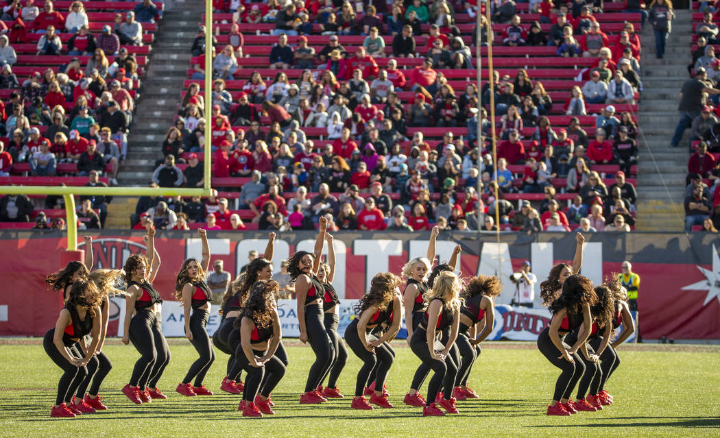 The Rebel Girls perform for the crowd as their team faces the San Jose State Spartans during th ...