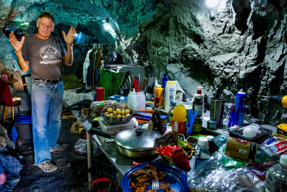 Richard Roman speaks about his bedroom and area while living in a former mine in the hillside a ...