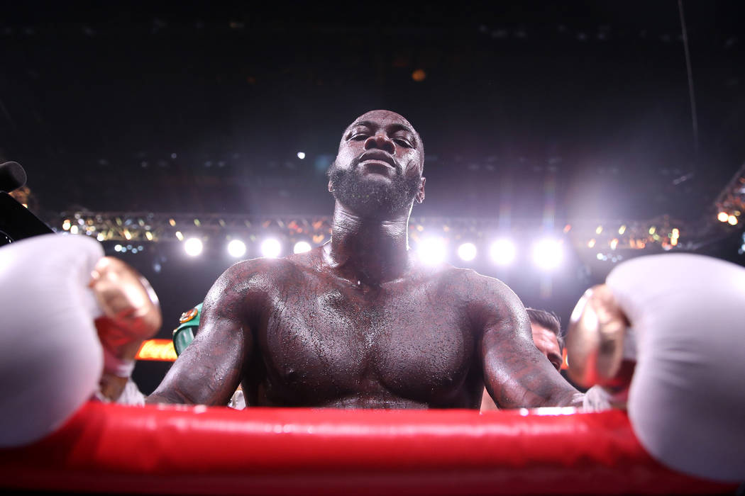 Deontay Wilder looks on after his knockout win against Luis Ortiz in the seventh round of the W ...