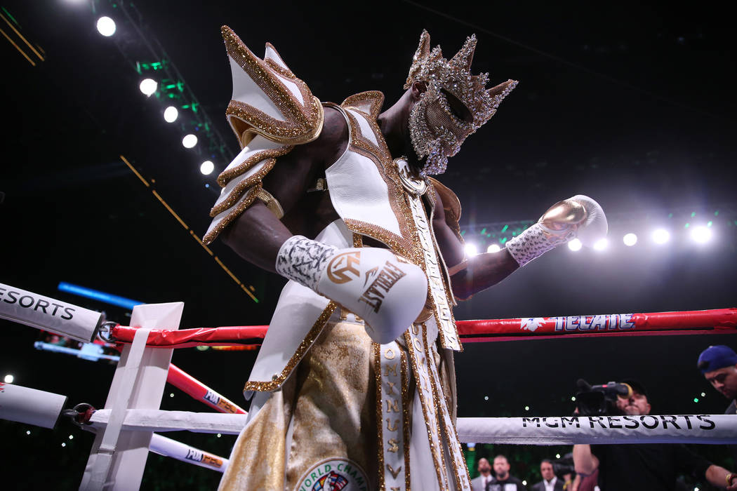 Deontay Wilder takes the ring for the WBC heavyweight title bout against Luis Ortiz at the MGM ...