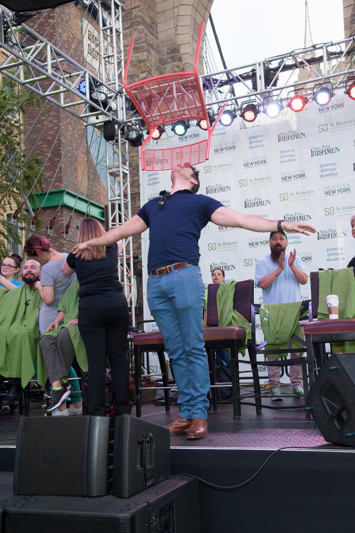 Jeff Civillico takes performs during St. Baldrick's Day at New York-New York on Saturday, March ...